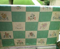 Vintage 1950's Quilt with 48 Hand Embroidered State Flowers-Cutter ... & Vintage 1950's Quilt with 48 Hand Embroidered State Flowers-Cutter or not Adamdwight.com