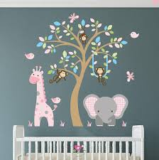 enchanted interiors jungle wall sticker decals premium self adhesive fabric nursery wall art approx scene size 64 high x 53 wide can be positioned  on baby room jungle wall art with enchanted interiors jungle wall sticker decals premium self adhesive
