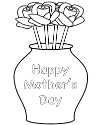 Small Picture Roses in Vase with theme Coloring Page Mothers Day