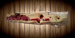 Cabin Coat Rack Rustic Wood Entryway Shotgun Shell Hat Coat Rack Live Edge Knotty 52