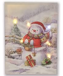 Canvas Christmas Prints With Led Lights Hong Art Framed Wall Art Canvas Prints With Led Light Christmas Tree Artwork Snowman Photo Merry Christmas Series For New Year And Home Decoration