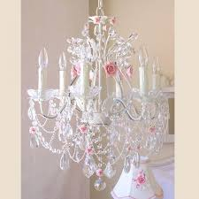 Shabby Chic Girls Bedroom Exquisite Rose 6 Light Crystal Chandelier With Pink Porcelain
