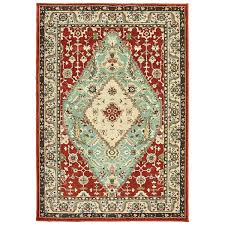 traditional medallion rust blue area rug x 5 colored rugs brown and