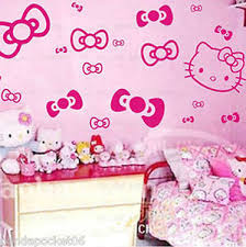 Image is loading HELLO-KITTY-amp-BOWS-WALL-STICKERS-ART-DECAL-