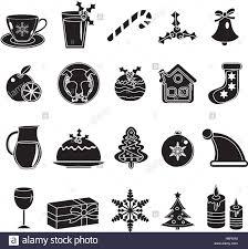 Traditional Symbols Christmas Black Silhouette Icons Set Of Traditional Symbols Stock