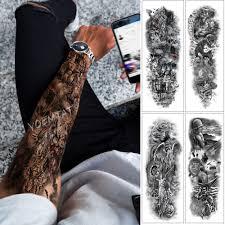 Velké Rameno Rukáv Tetování Lebka Krále Divoké Leopard Vodotěsné