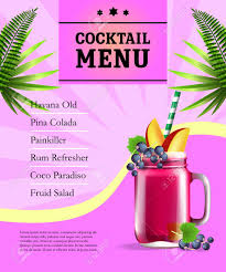Poster Pink Leaves 102266619 And Cocktail Free Illustration Jar Image Stock Juice Menu Fruit Royalty Cliparts On Palm Vectors