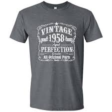 60th birthday gift for men and women vine 1958 aged perfection mostly original parts t shirt gift idea made in 1958 gray 1958