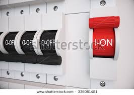 circuit breaker box stock images royalty images vectors new type trip switch fuse box all switches are on position electricity