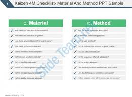 Kaizen 4M Checklist Material And Method Ppt Sample | Template ...