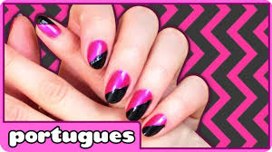 Nail Art Designs Step by Step | Retro Black and Pink Nails em ...