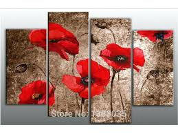 wall art poppies red poppy flowers hand painted oil on canvas art set modern abstract painting