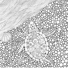 Coloring Book Page For Adult And Children Turtle Crawls To The Water