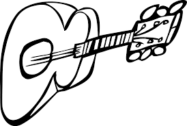 Guitar outline black and white clipart