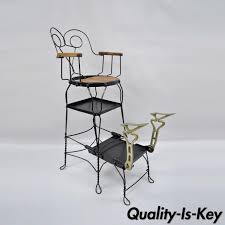 antique twisted iron metal shoe shine chair station stand ice cream parlor style