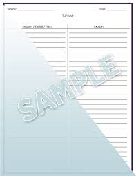 Step Up To Writing T Chart T Chart Step Up To Writing