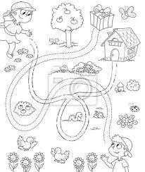 Gioco Per Bambini Labirinto In Bianco E Nero Manifesti Da Muro