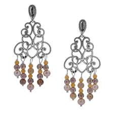 tassels sterling silver shades of yellow gemstones chandelier earrings yn pollack