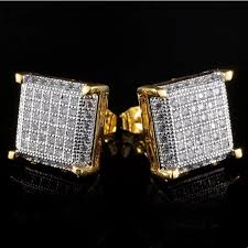 new micro pave diamond iced out gold mens earrings