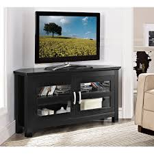 corner black wooden tv stand with storage and double glass doors