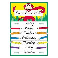 Week Days Chart Yi 77412 Mini Chart Days Of The Week 9781920977412 Edsco
