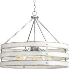 gulliver 5 light galvanized drum pendant with weathered white wood accents