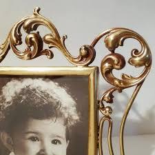 ornate art nouveau brass scroll work whiplash antique picture frame