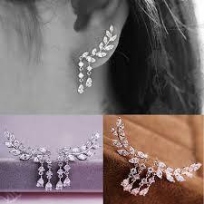 <b>Women Fashion</b> Crystal Rhinestone Leaves Tassel Ear Stud ...