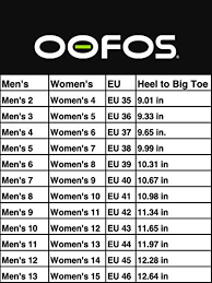 Oofos Size Chart Oofos Unisex Ooahh Post Exercise Active Sport Recovery Slide Sandal