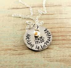 mustard seed necklace hand stamped
