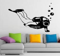 tree sea gulls bath palms wall art diving vinyl wall sticker man diver scuba diving bath interior mural w