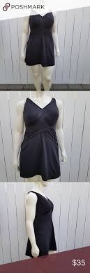 Lands End Plus Size Slender Sweetheart Swim Dress Size 18w