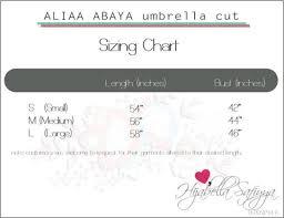Aliaa Abaya Size Chart Hijabella Safiyya Couture