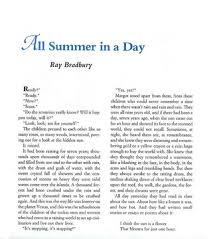 all summer in a day by ray bradbury review book adoration