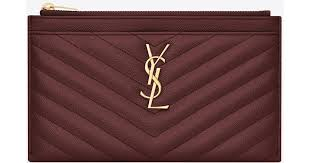 saint lau monogram bill pouch in grain de poudre embossed leather in red save 11 lyst