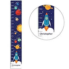 Kiddiewinkle Gifts Personalised Boys Height Chart Solar System Growth Chart For Boys Educational Wall Poster Childrens Height Chart Boys Bedroom