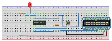 build raspberry pi controllers led flasher the erless breadboard wiring diagram to buid the rpi led flasher notice the placement of the electronic components on the erless breadboard