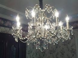 schonbek crystal chandelier vintage 8 light 3 twosistersfinds schonbek crystal chandelier