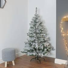 Flocked Christmas Tree 5ft Snow Covered Flocked Downswept Artificial Christmas Tree