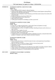 Postal Clerk Resume Sample Receiving Clerk Jobn Template Warehouse Shipping Resume Sample 56