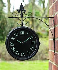 glow in the dark double sided outdoor clock 35cm 13 7 with fluorescent numbers 9 99