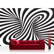 Vlies Fototapete 3d Tapete Abstrakt Linien Kreisel 3d Schwarz Weiß