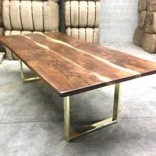 brass dining table black walnut custom base modern design mastercraft and glass brass dining table