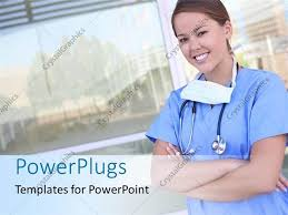 Powerpoint Template A Smiling Female Nurse In Front Of A