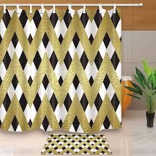 vector stripe graphics decor classic chevron in zigzag waterproof polyester fabric shower curtain set floor doormat bath rugs shower curtains