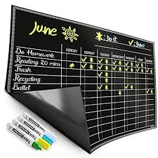 Magnetic Chore Chart For Kids 4 Chalk Markers Childrens Dry Erase Chalkboard Calendar For Multiple Household Chores Responsibilities