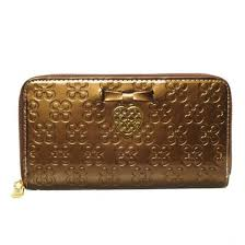 Coach Waverly Hearts Accordion Zip Large Gold Wallets DVF