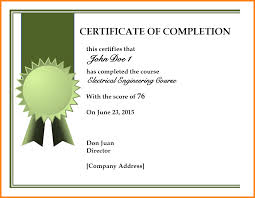 Certificate Of Completion Templates 5 Templates For Certificates Of Completion Phoenix Officeaz