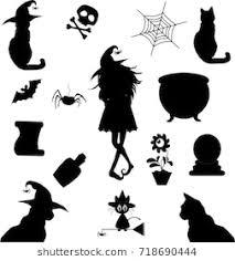 halloween black cat silhouette.  Halloween Halloween Silhouettes Witch Pumpkin Black Cat Cauldron Spiderweb  Potion And Black Cat Silhouette U