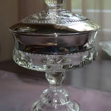 vintage glass compote candy dish indiana glass king s crown pe